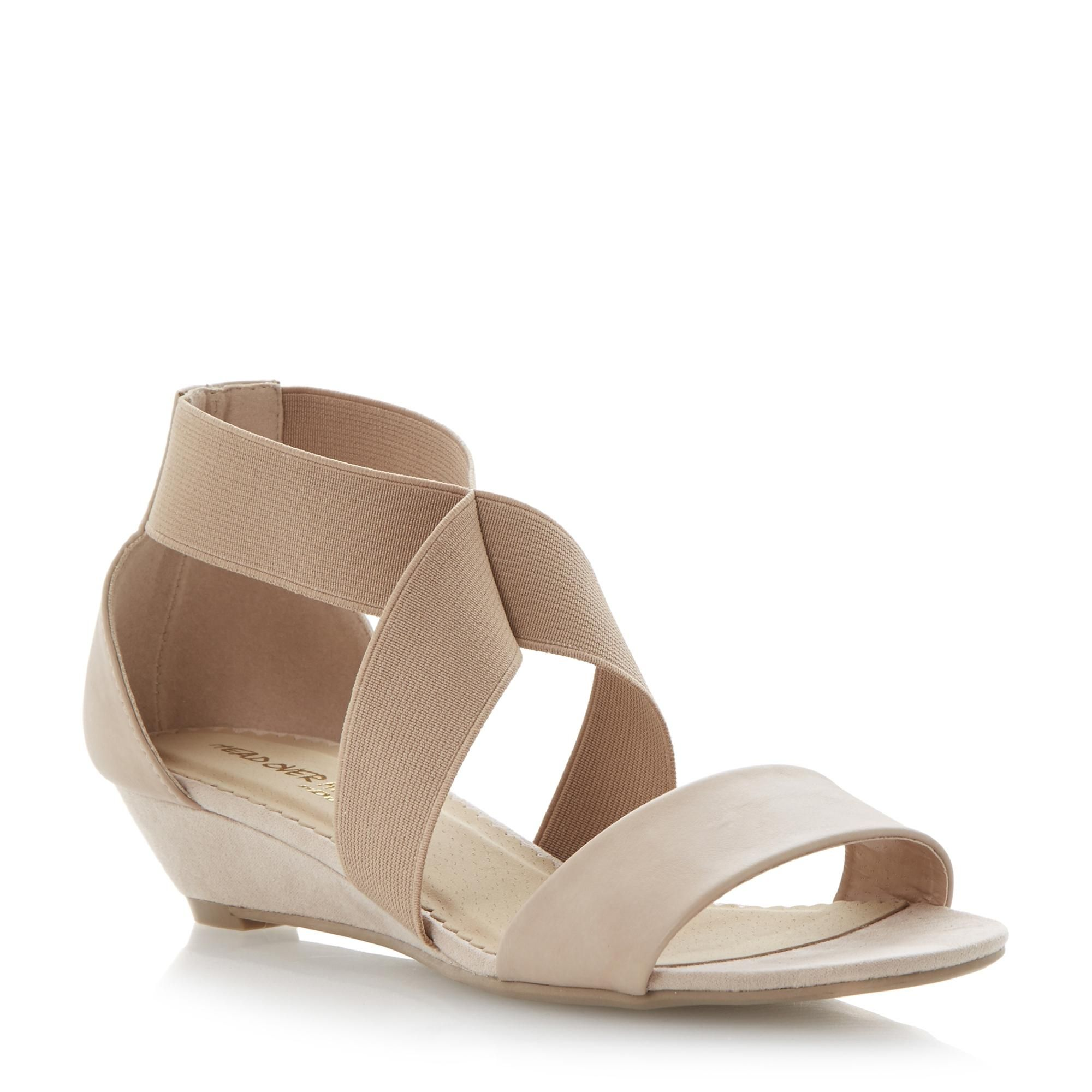 Head Over Heels Ladies GAILIE  Elastic Strap Low Wedge Heel Sandal  nude  | Dune