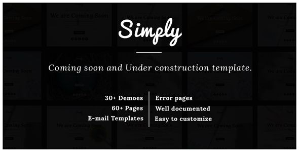 simply responsive coming soon and under construction template