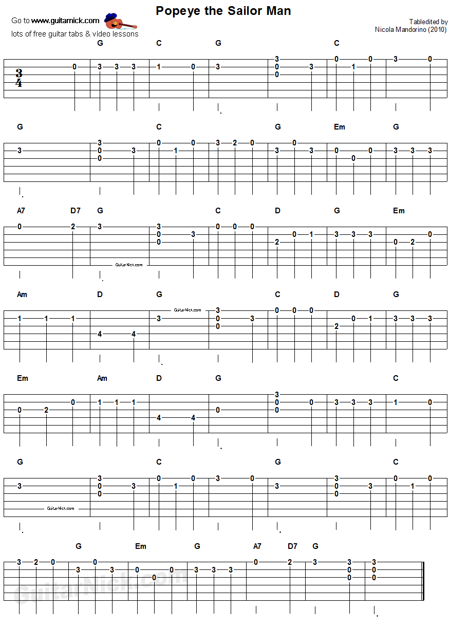 Popeye The Sailor Man Easy Song For Beginners Guitar Tab Video