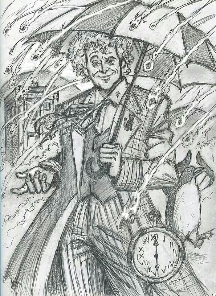 Rough sketch of the 6th Doctor, by Raine Szramski