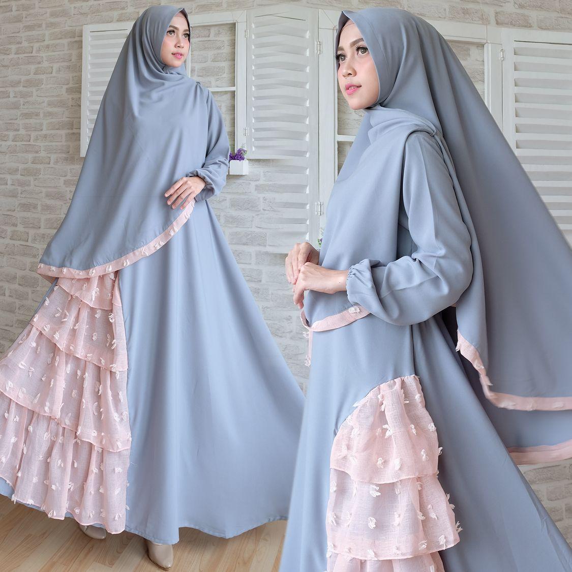 Gambar gamis syari cantik c8 grey 8x8  Model pakaian hijab