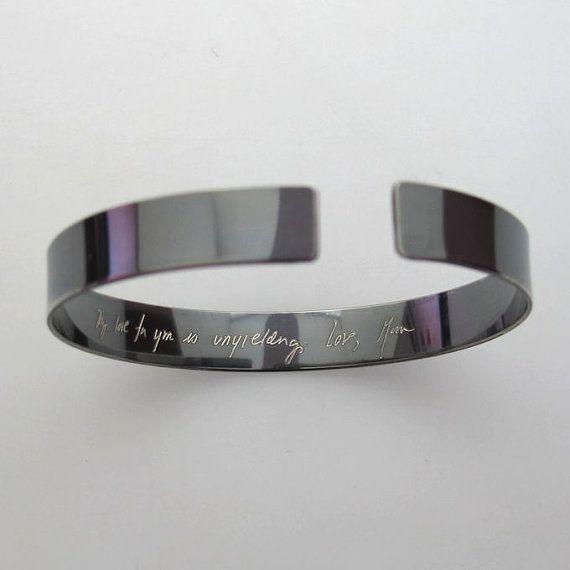 Custom Boyfriend gift  custom script engraved bracelet hand stamped bracelet inspirational bracelet for men Personalized engraved bracelet