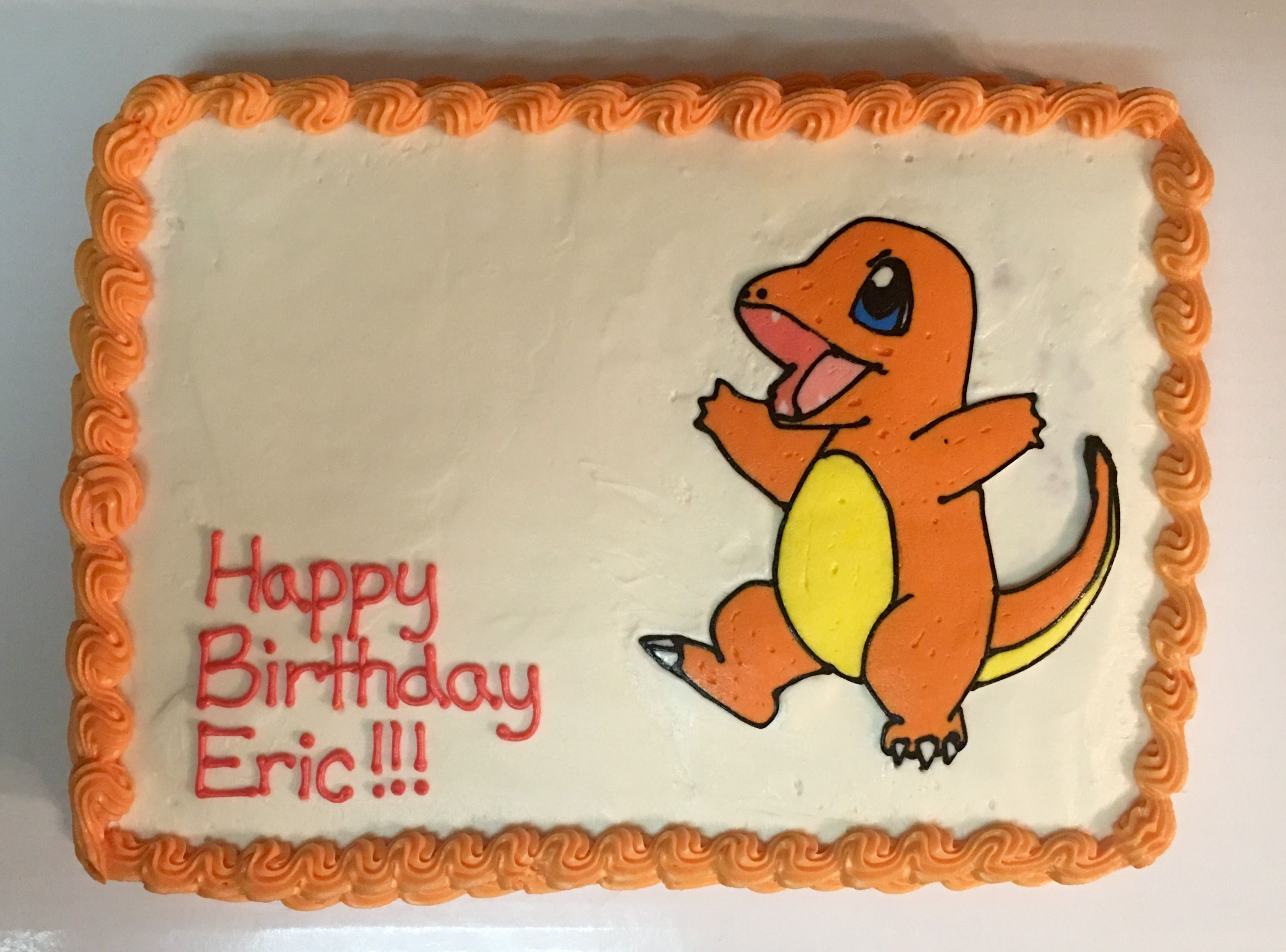 Charmander Cake (birthday candles were placed like he was breathing ...