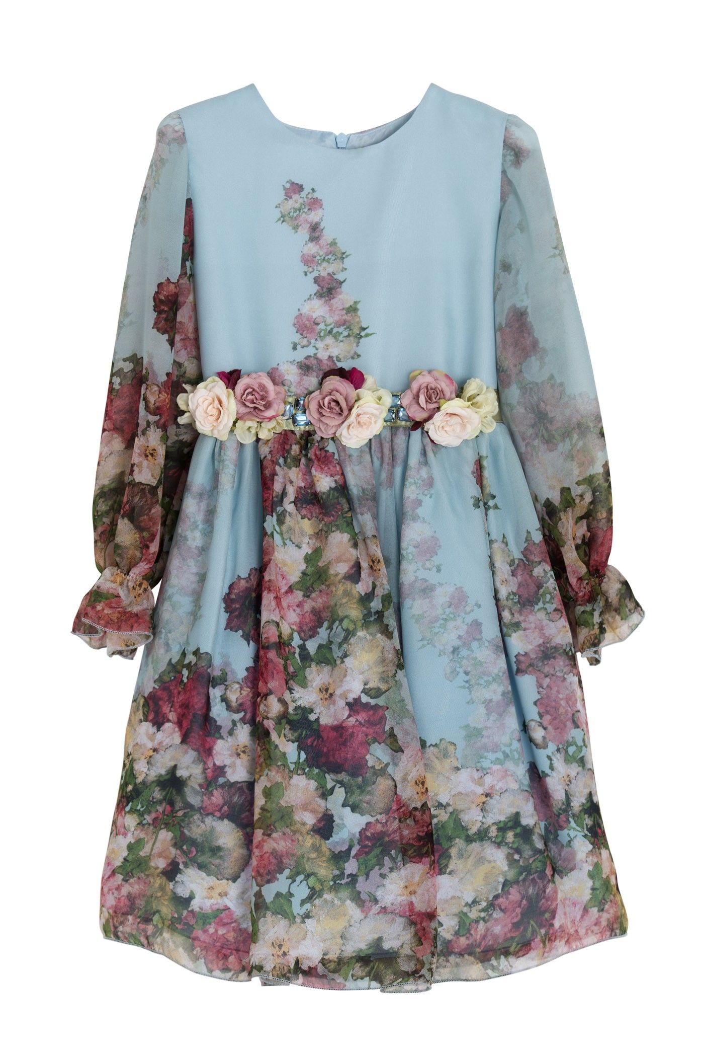 Long sleeve Dress in printed chiffon