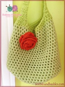 Crochet Market bag with Floral Accent