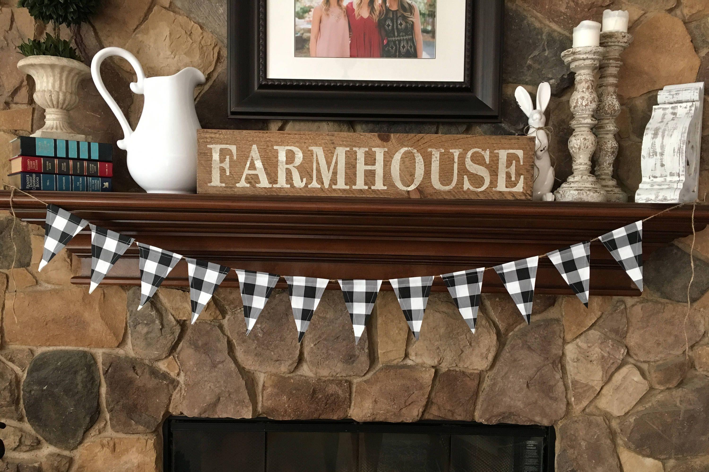 Farmhouse Buffalo Check Banner/Black & White Buffalo Check Fabric ...