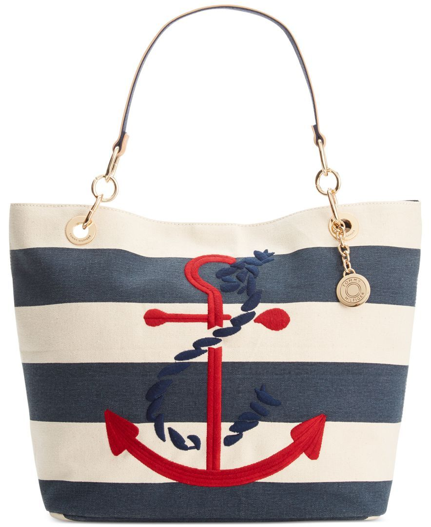 d1edb167acc9 Tommy Hilfiger Th Signature Embroidered Anchor Rugby Canvas Tote ...