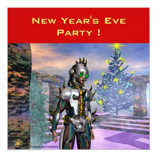 NEW YEAR'S EVE OF A CYBORG PERSONALIZED INVITATION