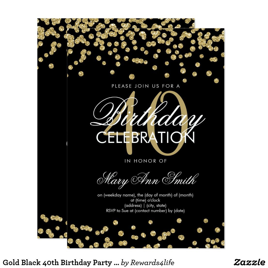 Gold Black 40th Birthday Party Glitter Confetti Invitation Elegant Faux Template