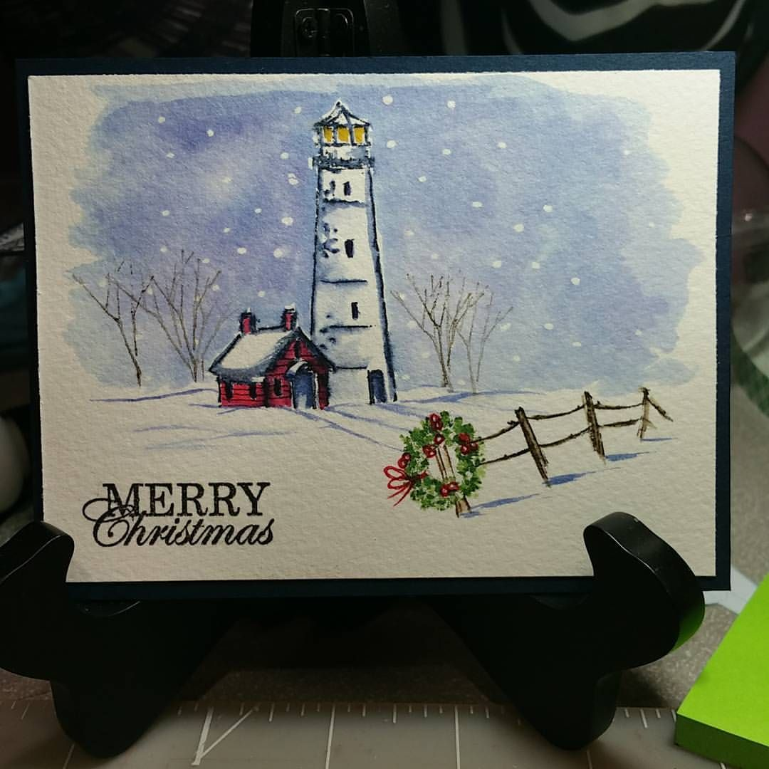 Another wintery scene... #aistamps #watercolortheartimpressionsway ...
