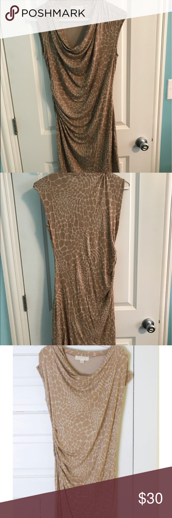 Michael Kors Stretchy Tan Cowl Neck Giraffe Print Gorgeous dress by Michael Kors in size medium .Super cute tan and taupe giraffe print pattern. Stretchy jersey knit style in 95% rayon, 5% spandex. Cowl neck and ruching around waist on one side . The sleeves are almost like a combination between cap sleeves and sleeveless--very small cap sleeves I guess I would call them. It's in great condition!   (has plenty of stretch) Michael Kors Dresses Midi