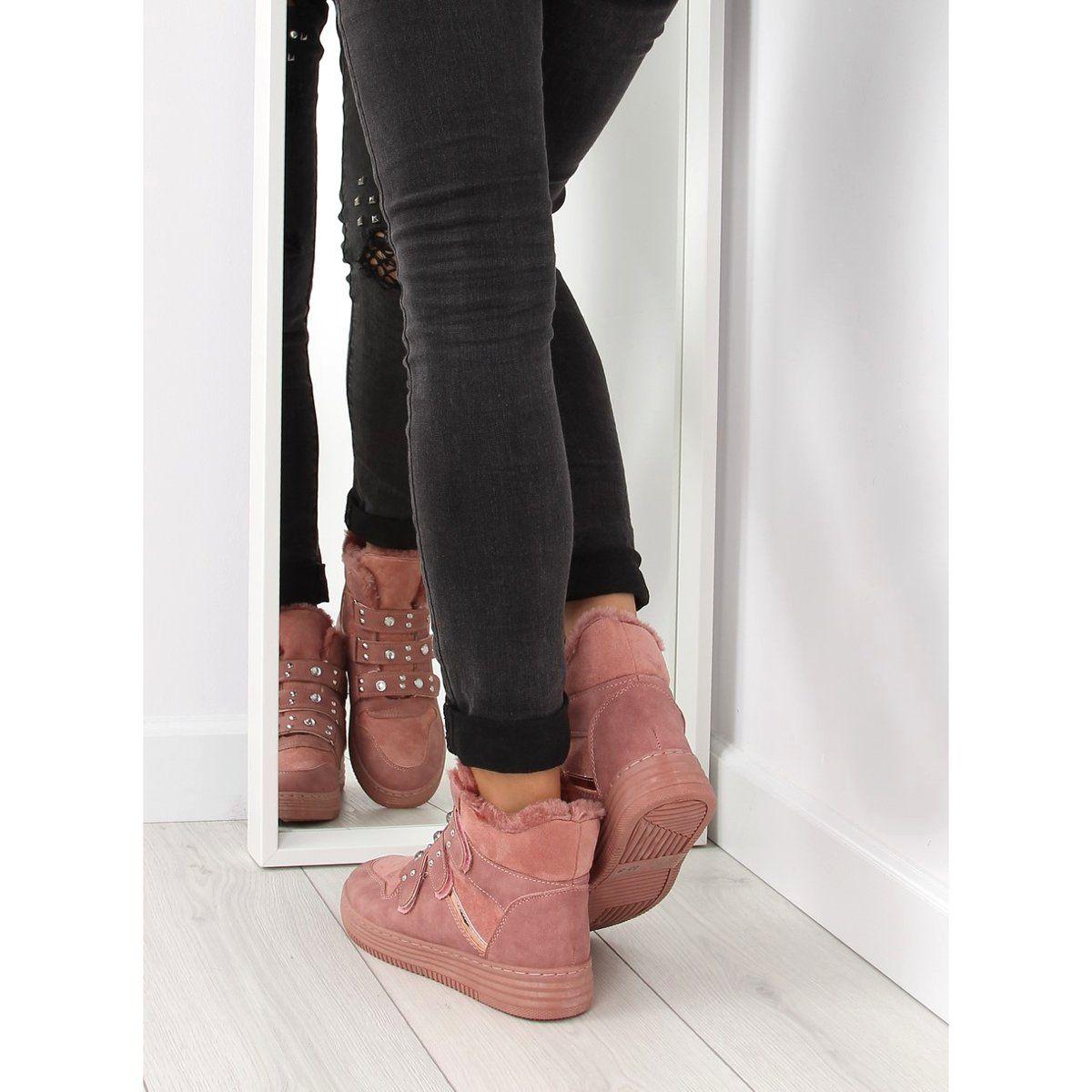 Tenisowki Damskie Obuwiedamskie Ocieplane Trampki Za Kostke Rozowe Zjy 29 Obuwie Damskie Fashion Shoes Wedge Sneaker