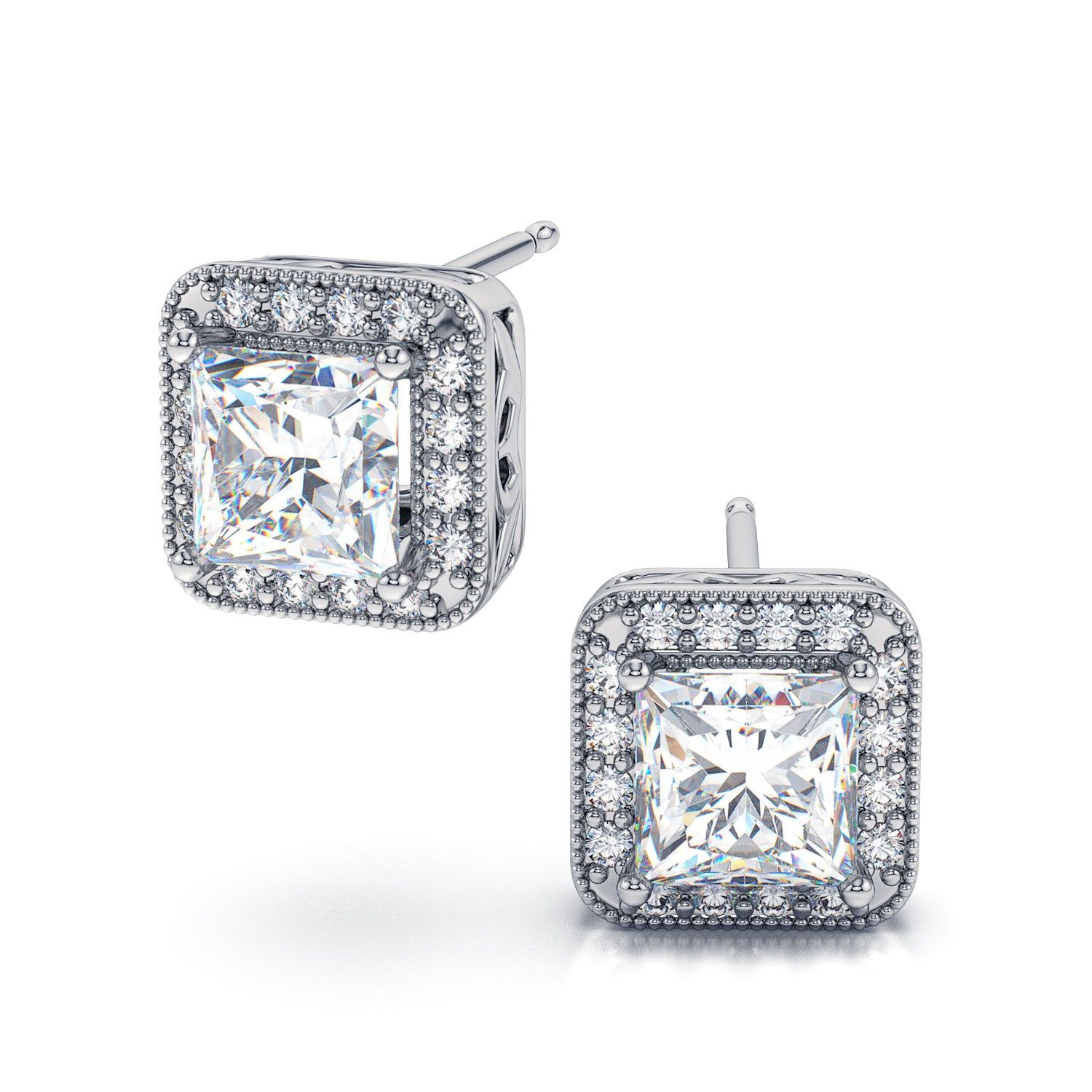 112ctw Halo Style Princess Cut Diamond Stud Earrings In 18kt White Gold