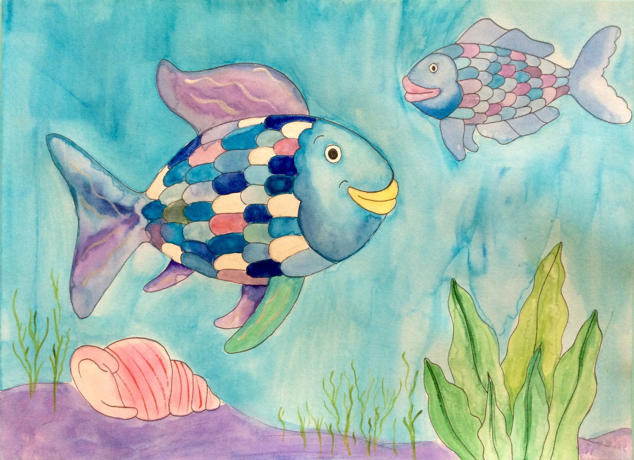 The rainbow fish painting the rainbow fish art project for Rainbow fish lesson plans