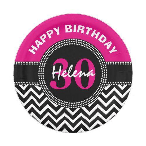 Happy 30th Birthday Pink Monogram Chevron Paper Plate  sc 1 st  Pinterest & Happy 30th Birthday Pink Monogram Chevron Paper Plate | Chevron ...