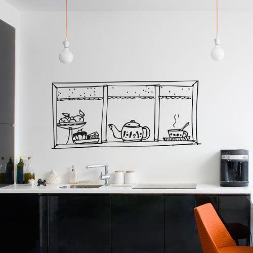 vinilo decorativo que simula una ventana en la cocina