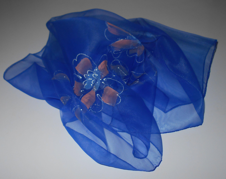 947392d9eede6 Vintage sheer nylon scarf, 1960s Japanese head scarves handpainted floral in  blue