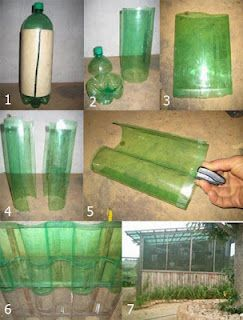 Green house roof from 2 ltr.  bottles! Could use clear ones too. I am thinking of many ways to use this idea!