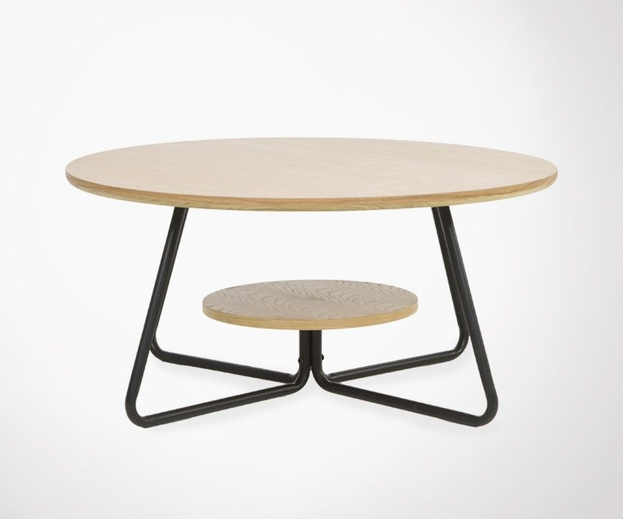 Table Basse Ronde Style Industriel En Bois Clair Et Metal Noir Ideal Dans Un Salon Design Et Epure Type Loft Table Basse Table Basse Design Meuble De Style