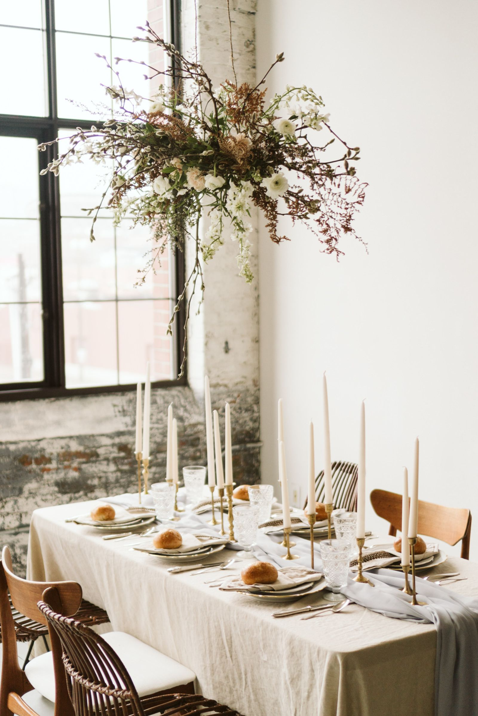 Minimal + simple wedding inspiration – hanging floral centerpiece ...