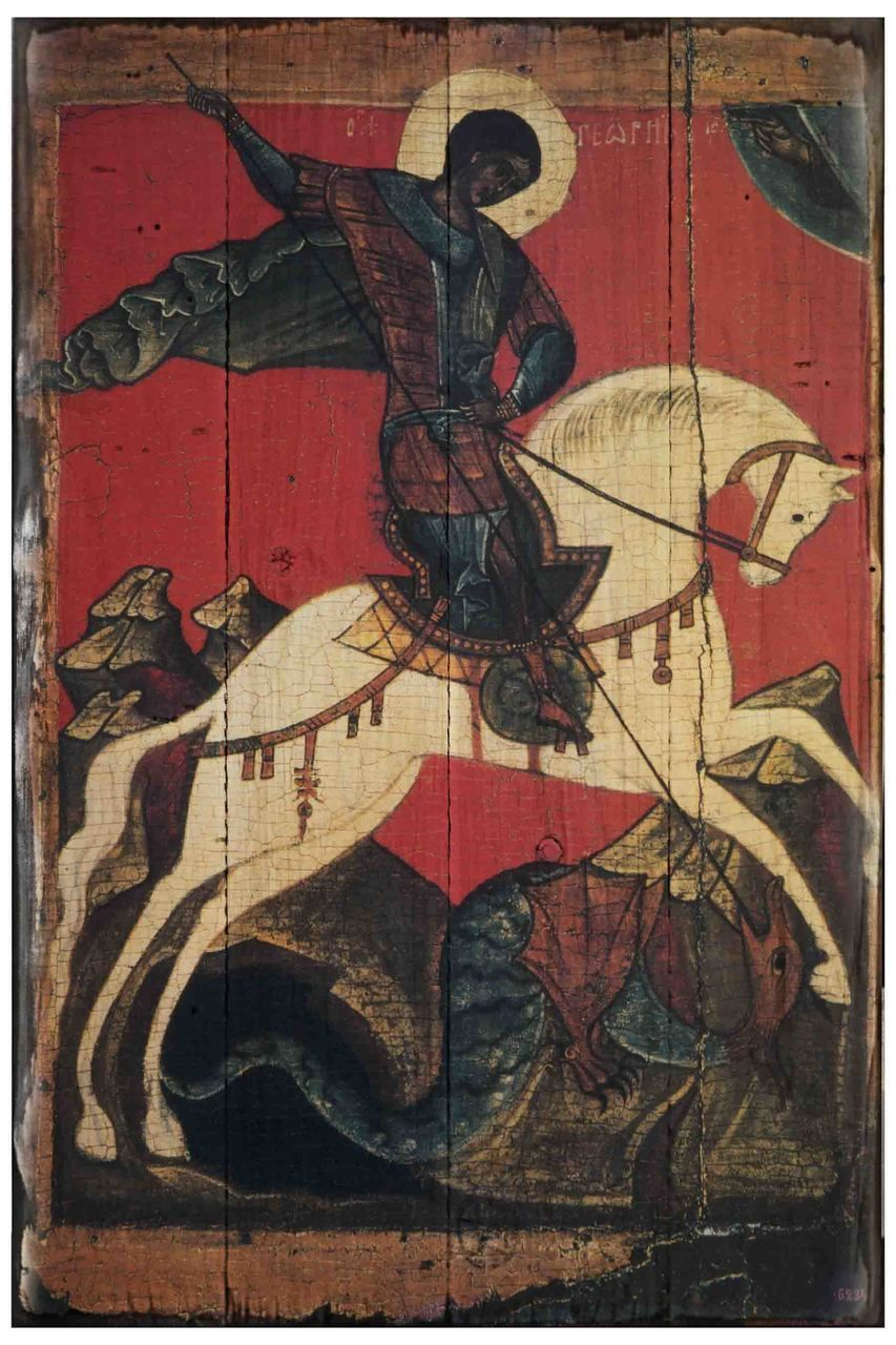 SAINT GEORGE SLAYING KILLING THE DRAGON FRESCO PAINTING ART REAL CANVAS PRINT
