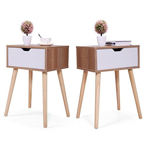 JAXPETY Set of 2 Bedside Table Solid Wood Legs Nightstand