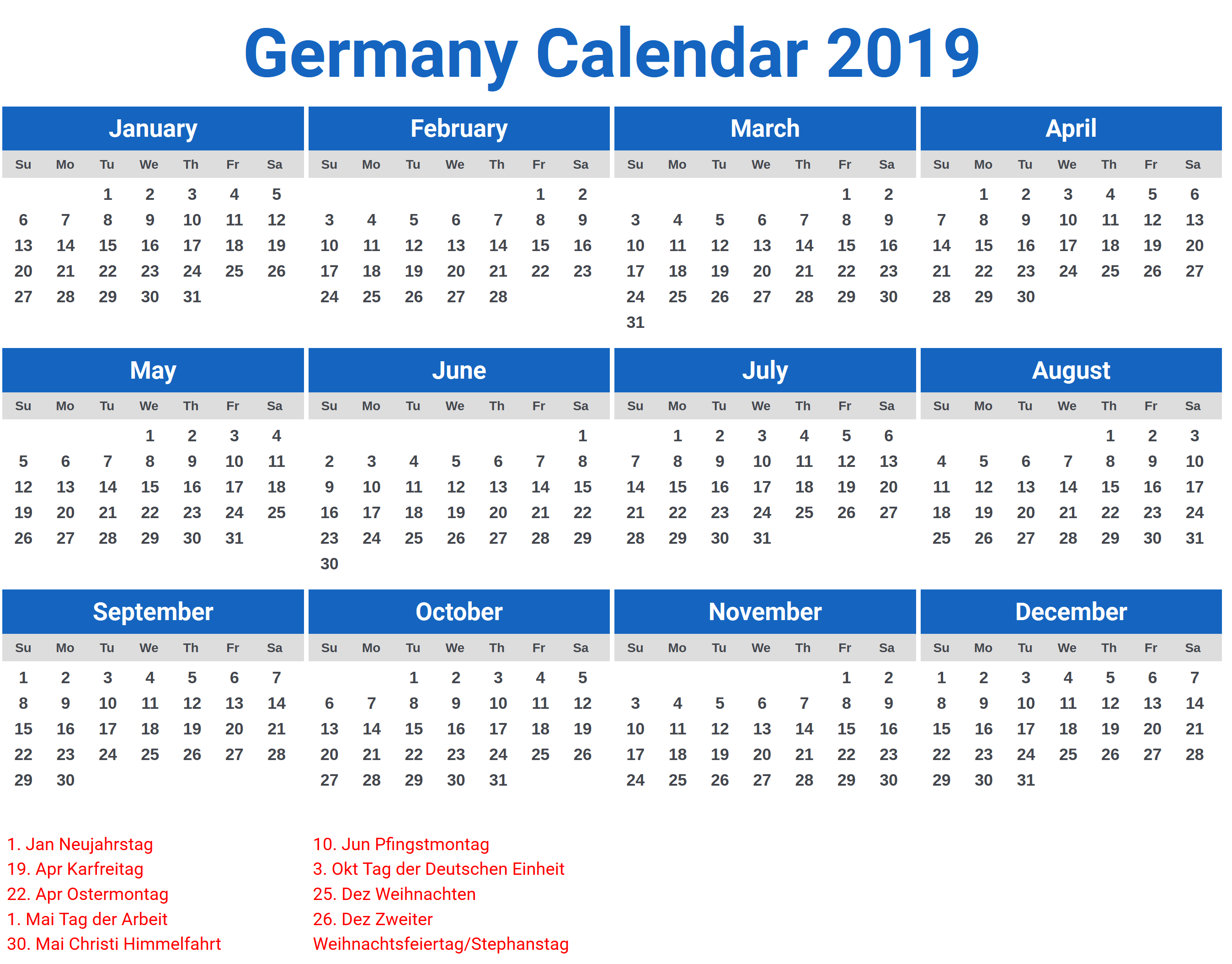 germany 2019 calendar with holidays 2019 calendars. Black Bedroom Furniture Sets. Home Design Ideas