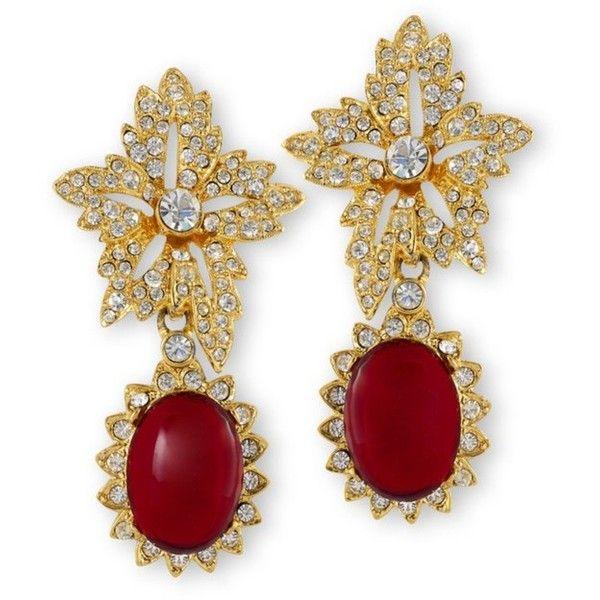 Kenneth Jay Lane Black Ruby Drop Clip Earrings Ruby Dwn60SyR