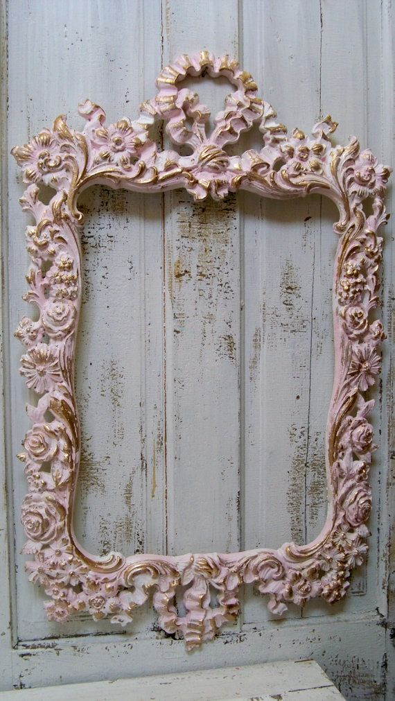 Large ornate vintage frame pink white accented gold shabby chic ...