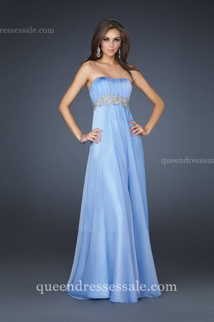 Strapless Empire Waist Periwinkle Long Prom Dresses Online Sale ...