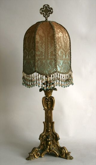 Nightshades Antique Gold Candlestick Lamp With Custom Shade Antique Lamp Shades Victorian Lamps Lamp