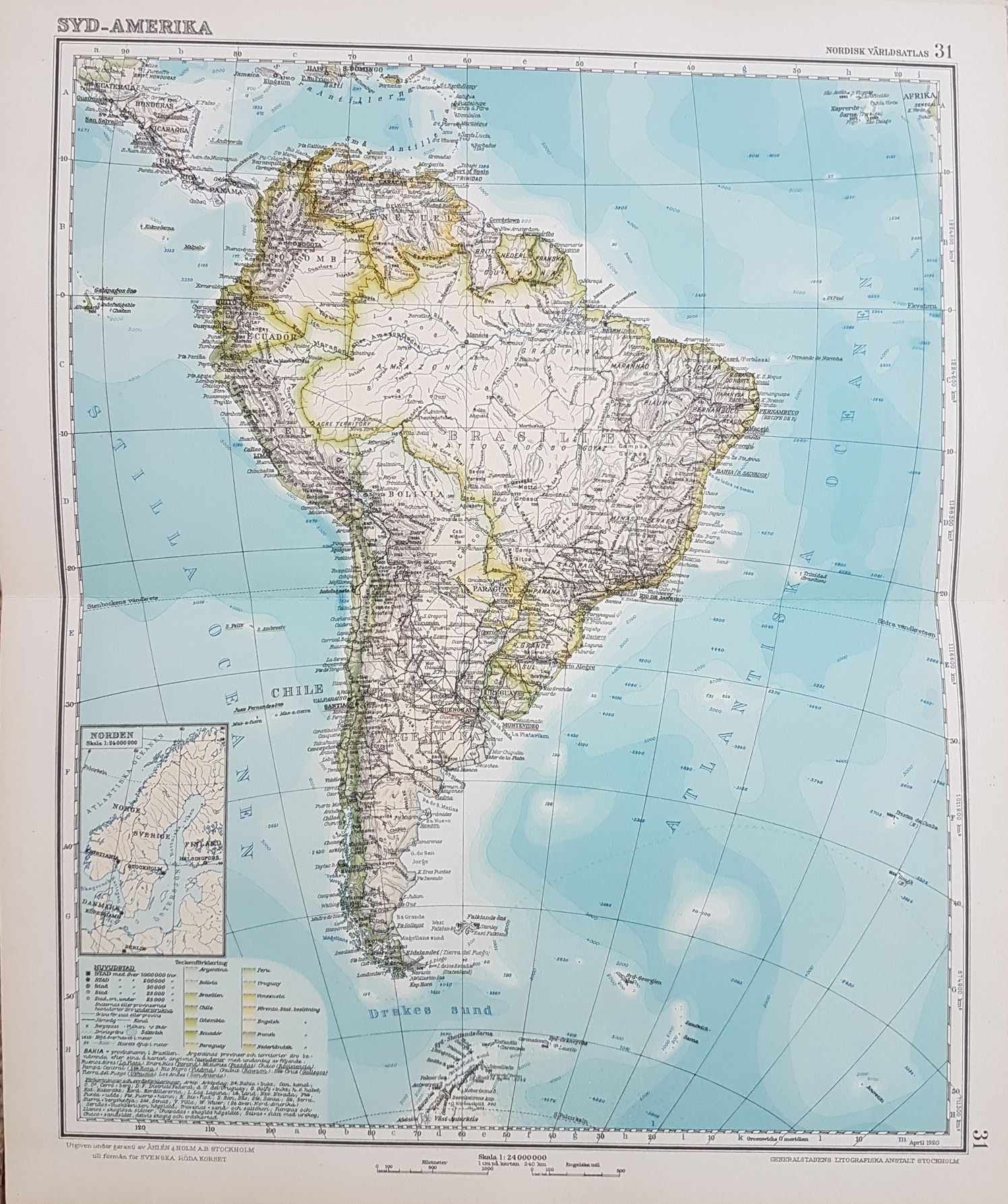 antique maps for sale printed 1926 displays geography in beautiful colors the text