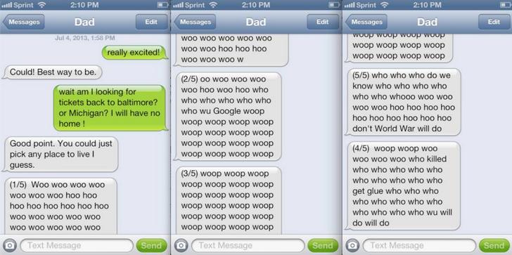 Woo haha text message