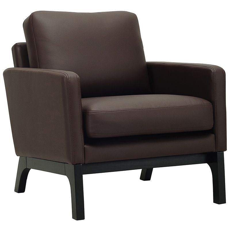 VINCE SCANDI STYLE ARMCHAIR (PU) DARK BROWN CUSHION / BLACK FRAME (AC055PU)
