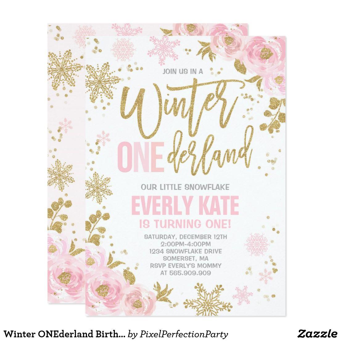 Winter ONEderland Birthday Invitation Pink Gold | Winter ...