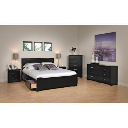 Prepac Coal Harbor Full/Queen Flat Panel Headboard Black