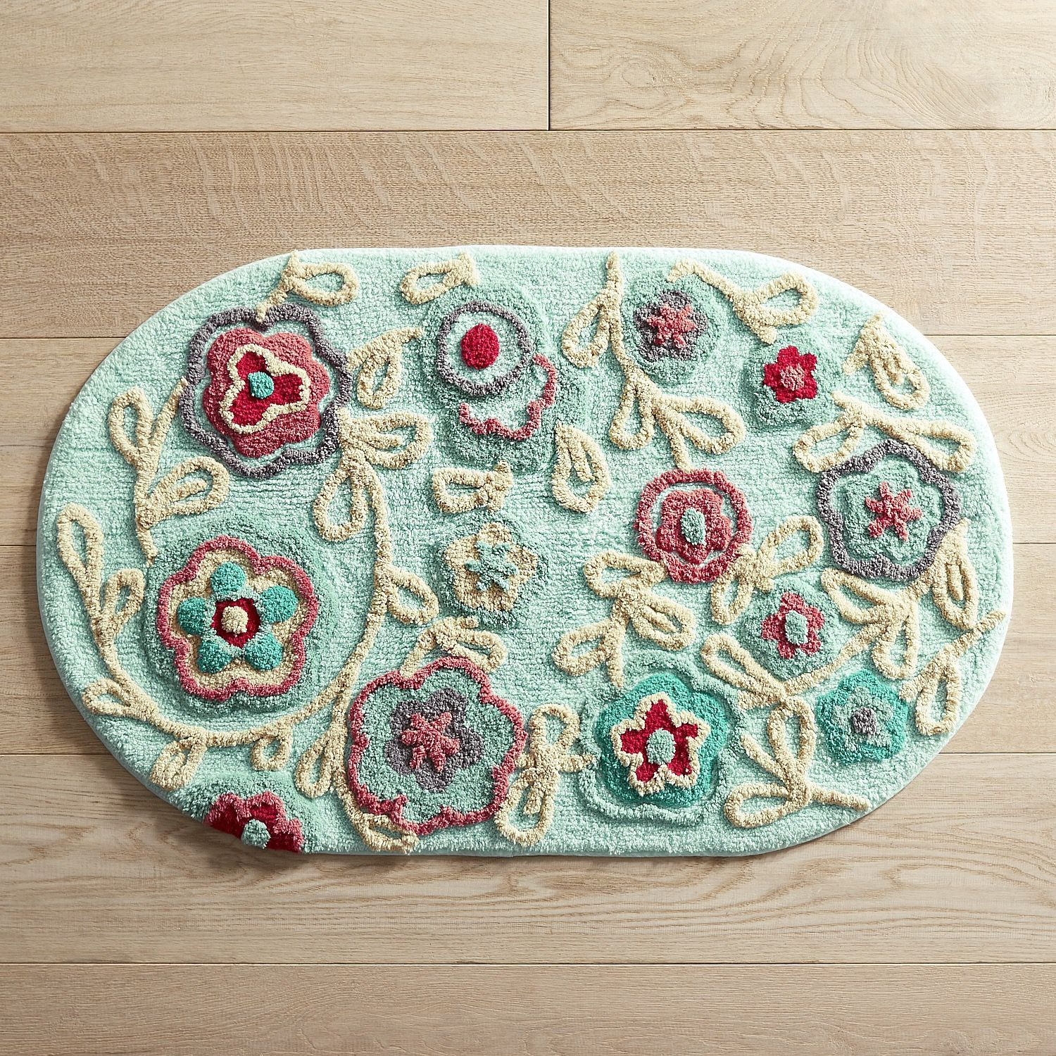 Bright Floral Oval Bath Rug
