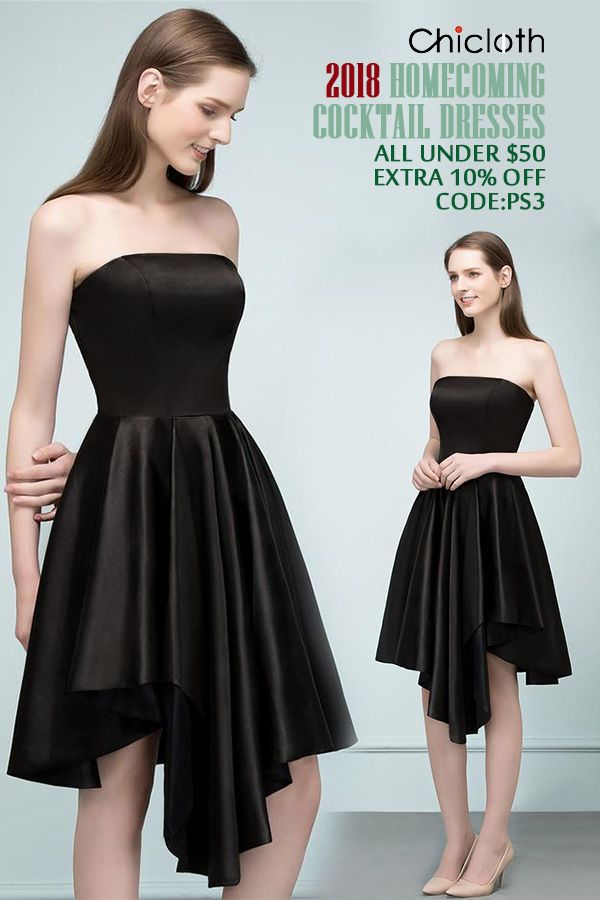 AA  Chicloth A-Line Strapless Short Ruffles Black Homecoming Dresses ...