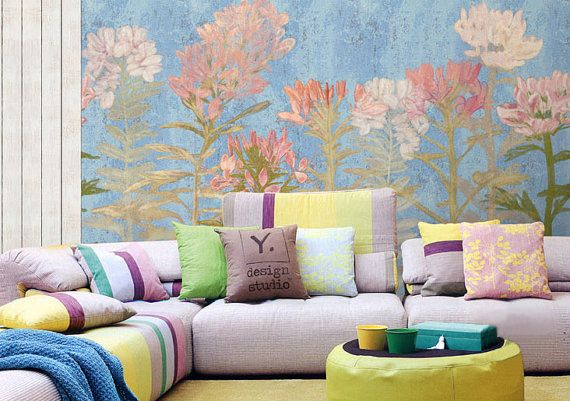 Frühling Blumentapete Kunst Schlafzimmer Wohnzimmer Retro-Aprikose - retro tapete wohnzimmer