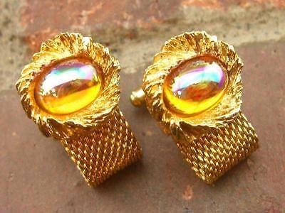 Rainbow Glass Gold Tone Cufflinks (34.7g)