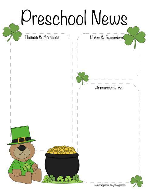 Preschool St Patrick S Day March Newsletter Preschool Newsletter Templates Preschool Newsletter Preschool