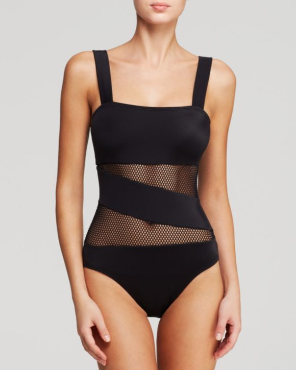 2e4a1298a9460 DKNY Mesh Effect Splice Maillot One Piece Swimsuit
