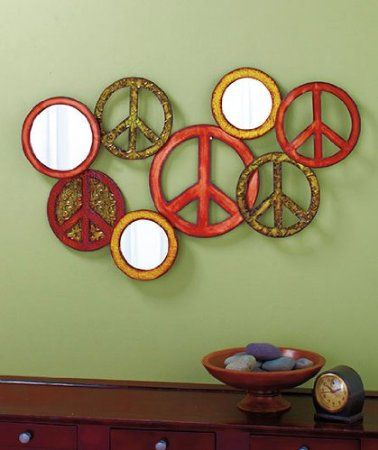 Peace Sign Wall Art amazon - groovy peace sign metal wall art & mirror | peace