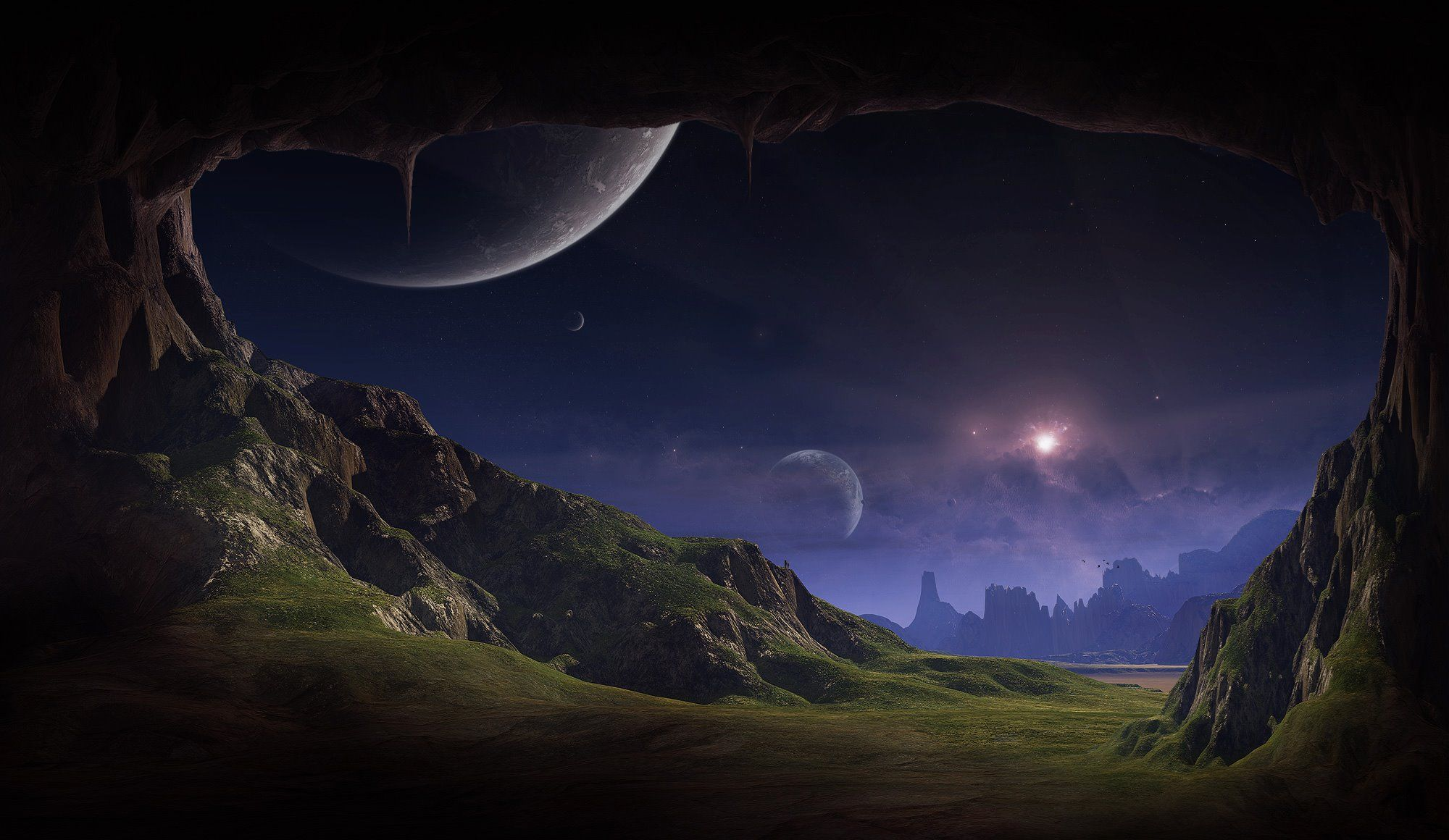 Pin By Brian Mohs On Moon Fantasy Landscape Planets Wallpaper Landscape Wallpaper