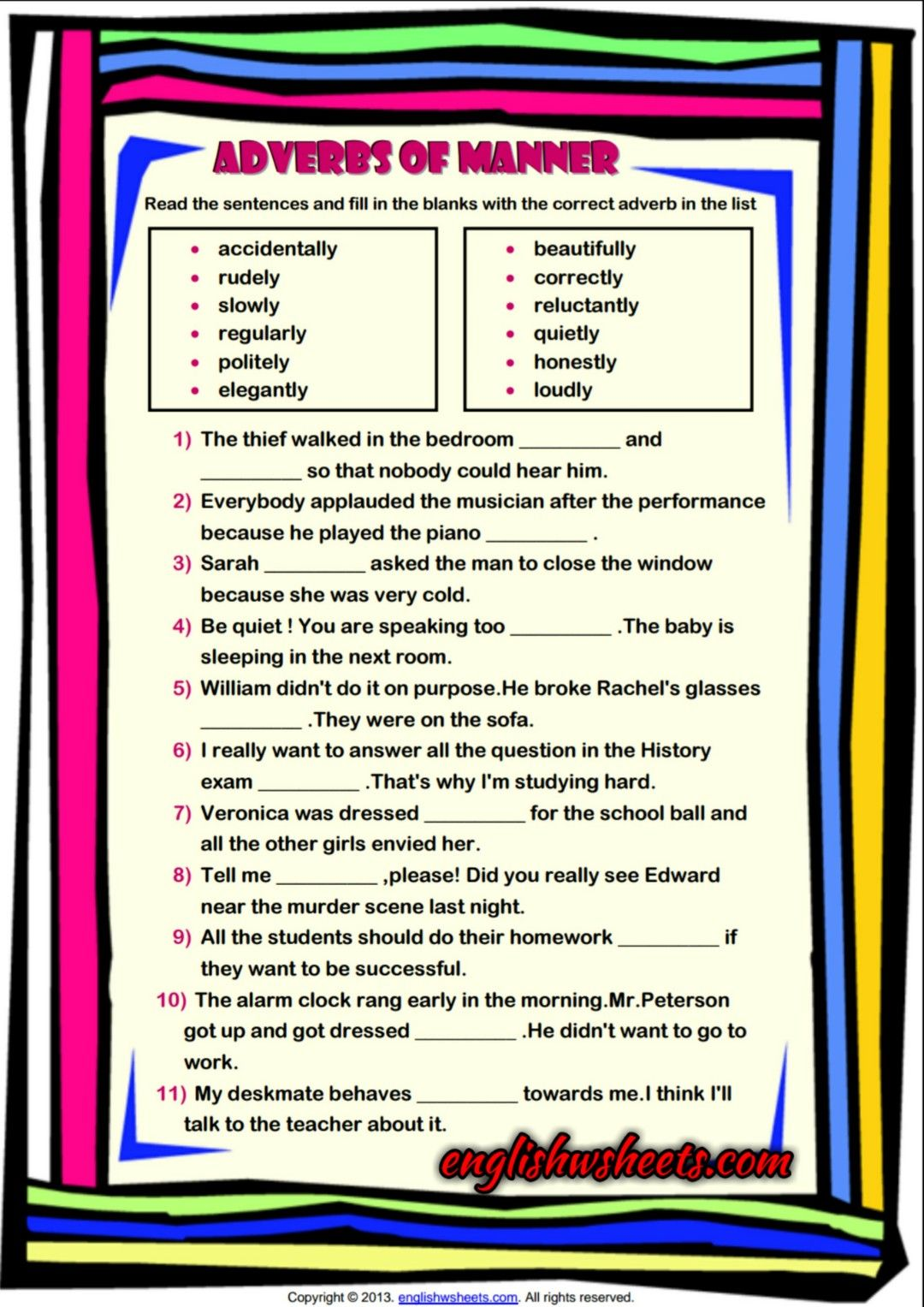 Adverbs Of Manner Esl Grammar Exercise Worksheet
