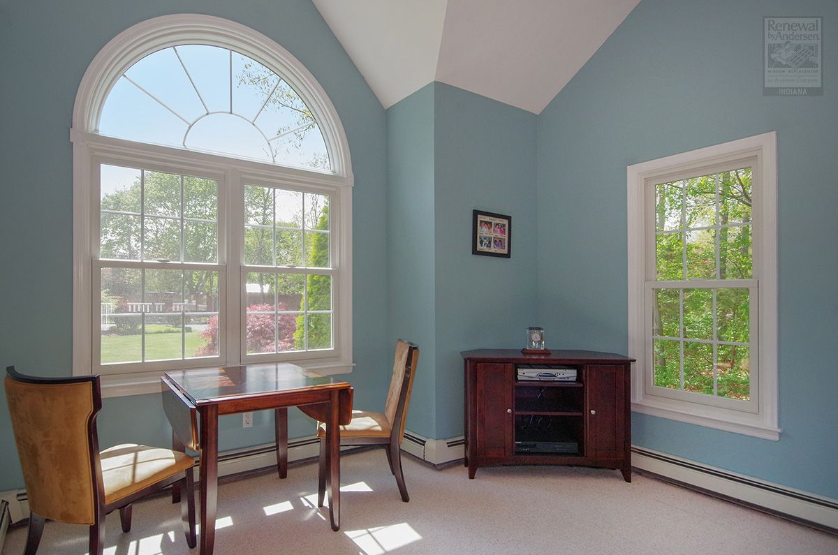 Double Hung And Circle Top Windows Renewal By Andersen Indiana In 2020 Windows And Patio Doors Beach House Bedroom Windows