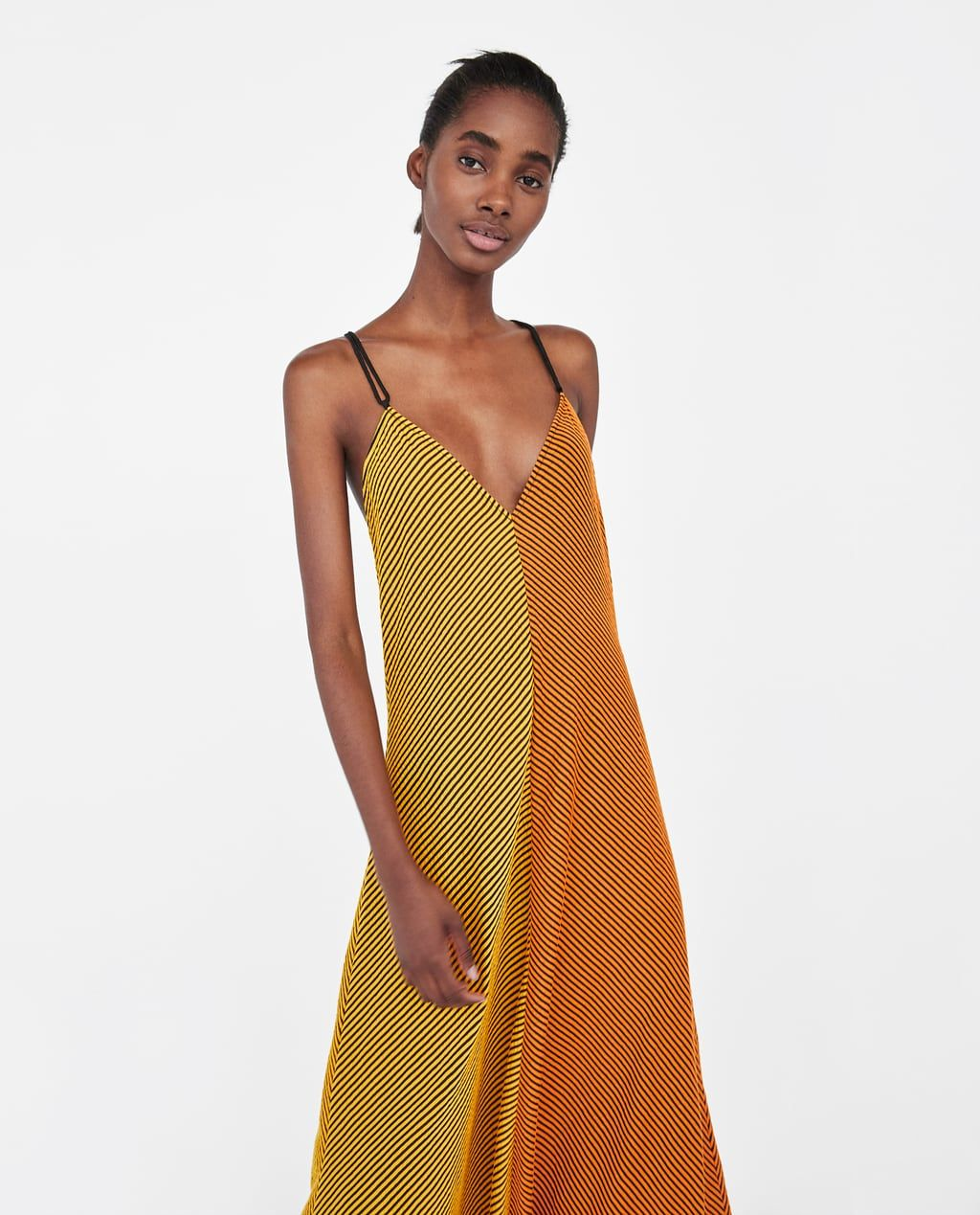 392b5e437e3 Image 2 of TWO-TONE STRIPED ASYMMETRIC DRESS from Zara