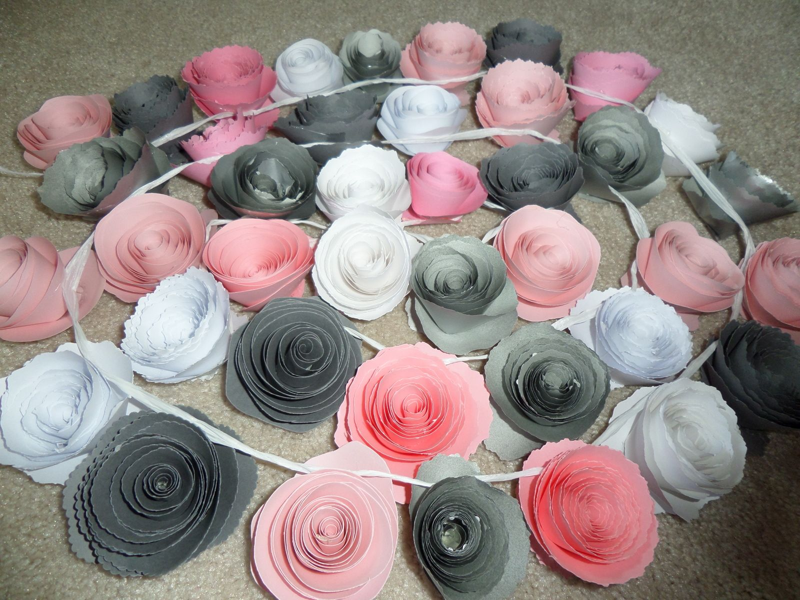 Grey Pink white Rolled Paper Flowers Spiral Garland 7' /$49 https://www.etsy.com/listing/228803883/fancy-rolled-paper-flower-garland-rolled?ref=shop_home_active_7