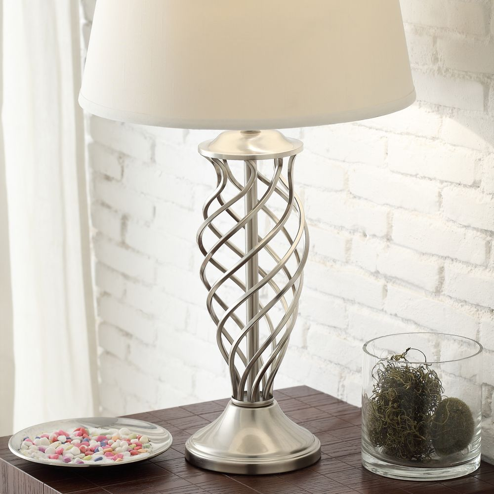 Inspire q cornelia 3 way satin nickel contoured cage base 1 light accent table
