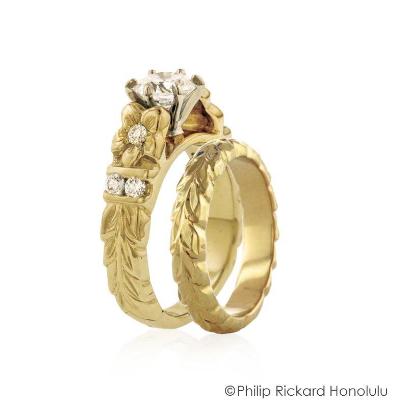 Deep Cut Maile wedding set DPFM0 CO1 Hawaiian Wedding Rings